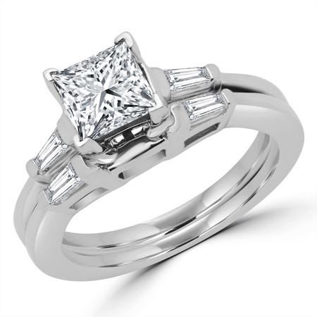Princess Cut Diamond Multi-Stone V-Prong Engagement Ring & Wedding Band Bridal Set with Baguette Cut Diamond Accents in White Gold - #HR8092A-B-W