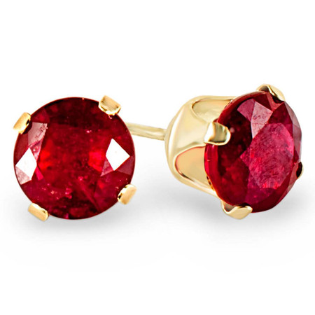 Round Cut Red Ruby Gemstone Solitaire 4-Prong Stud Earrings in Yellow Gold - #E120
