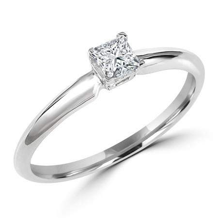 Princess Cut Diamond Solitaire 4-Prong Engagement Ring in White Gold - #S4P-W