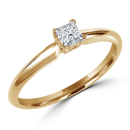 Princess Cut Diamond Solitaire 4-Prong Engagement Ring in Yellow Gold - #S4P-Y