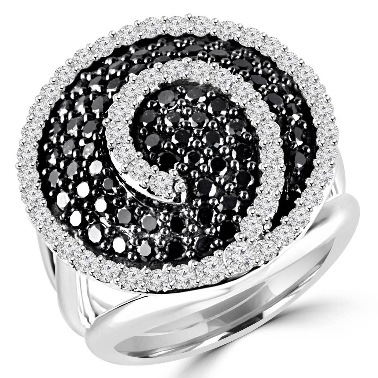 Black Diamond Swirl Ring Bijoux Majesty