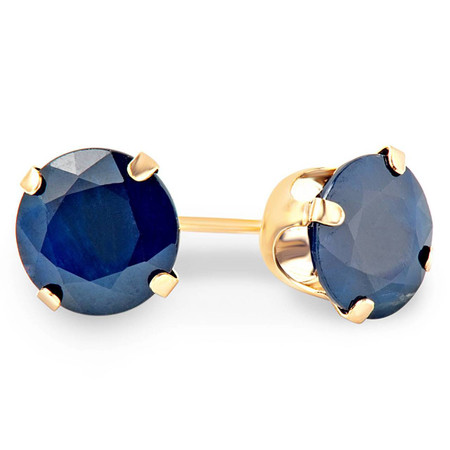 Round Cut Blue Sapphire Gemstone Solitaire 4-Prong Stud Earrings in Yellow Gold - #E200