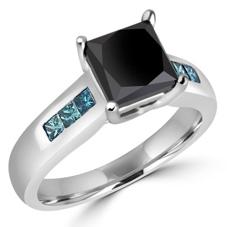 Princess Cut Black Diamond Multi-Stone 4-Prong Engagement Ring with Princess Cut Blue Diamond Accents in White Gold - #SM1416-W-BLK