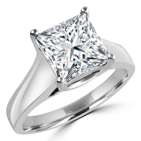 Princess Cut Diamond Solitaire 4-Prong Trellis-Set Engagement Ring in White Gold - #SPR2066-W