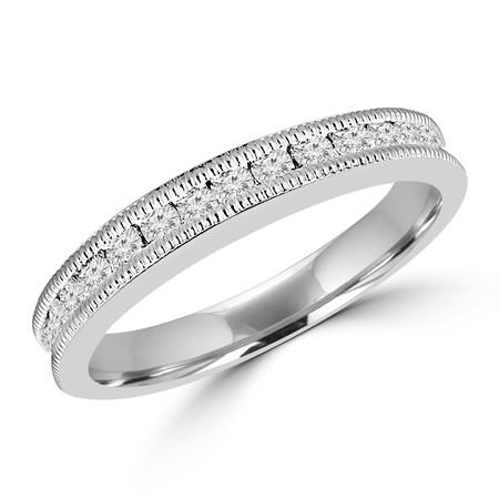 Round Cut Diamond Multi-Stone Channel-Set Full-Eternity Wedding Band Ring in White Gold - #UFTH0551-W