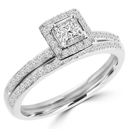 Princess Cut Diamond Multi-Stone 4-Prong Engagement Ring & Wedding Band Bridal Set with Round Diamond Accents in White Gold - #HR4435-A-B-W
