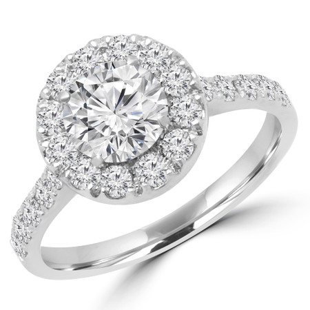 Round Cut Diamond Multi-Stone 4-Prong Halo Engagement Ring with Round Diamond Accents in White Gold - #PAULO-MAJ10-W