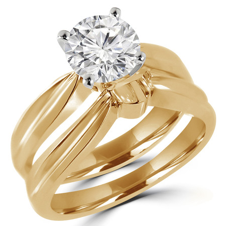 Round Cut Diamond Solitaire Tapered Shank V-Prong Engagement Ring and Wedding Band Bridal Set in Yellow Gold - #714L-A-B-Y-SET