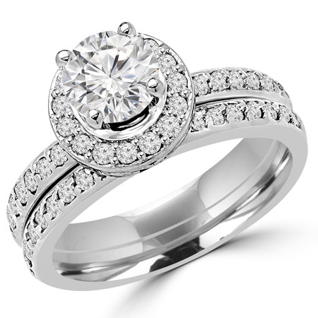 Round Cut Diamond Multi-Stone 4-Prong Engagement Halo Ring and Wedding Band Bridal Set with Round Diamond Accents in White Gold - #2503WS-W-SET