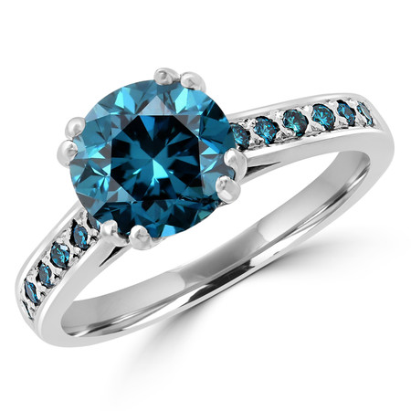 Round Cut Blue Diamond Multi-Stone 4 Double-Prong Cathedral-Set Vintage Engagement Ring with Round Blue Diamond Accents in White Gold - #SM2361-W-BLUE