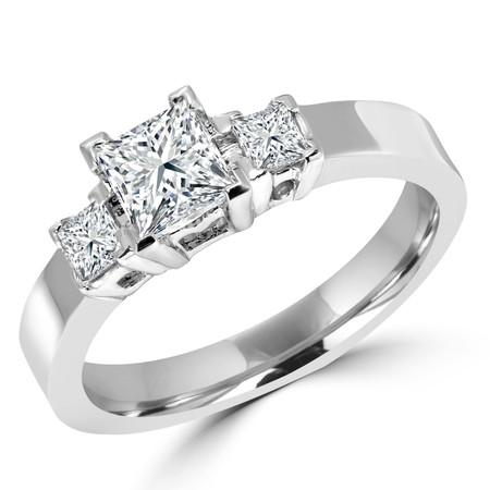 Princess Cut Diamond Three-Stone V-Prong Trellis-Set Engagement Ring in White Gold - #1651L-W