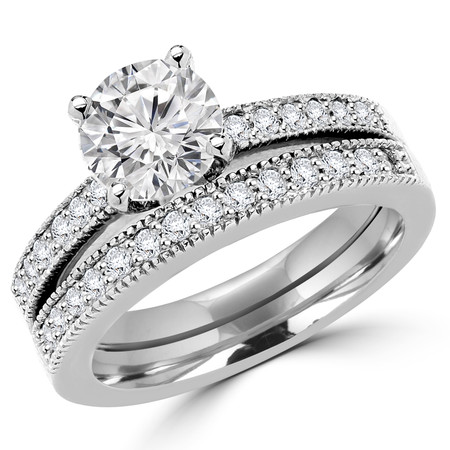 Round Cut Diamond Multi-Stone 4-Prong Engagement Ring and Wedding Band Bridal Set with Round Diamond Accents in White Gold - #1942-A-B-W