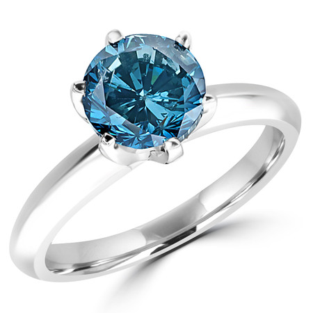 Round Cut Blue Diamond Solitaire 6-Prong Engagement Ring in White Gold - #1956L-W-BLUE