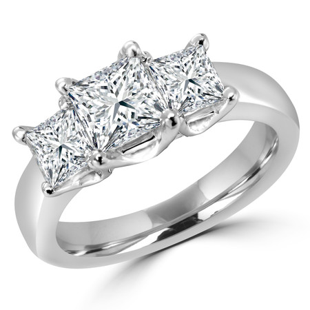 Princess Cut Diamond Three-Stone 4-Prong Trellis-Set Engagement Ring in White Gold - #2106LP-W