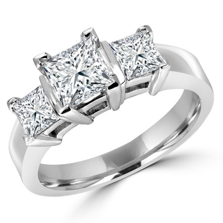 Princess Cut Diamond Three-Stone V-Prong Trellis-Set Engagement Ring in White Gold - #2285LP-W