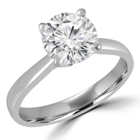 Round Cut Diamond Solitaire Tapered-Shank 4-Prong Cathedral-Set Engagement Ring in White Gold - #2307L-W
