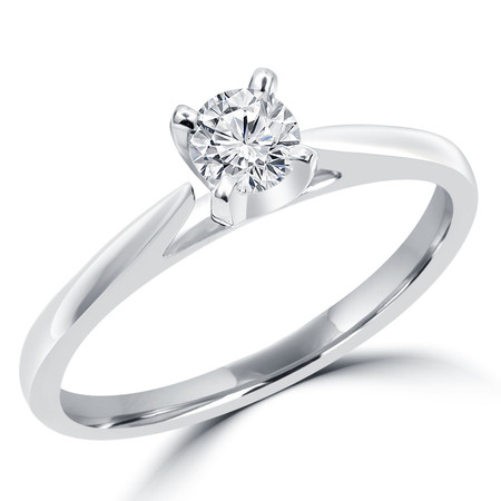 Round Cut Diamond Solitaire Cathedral Set 4-Prong Engagement Ring in White Gold - #356L-W