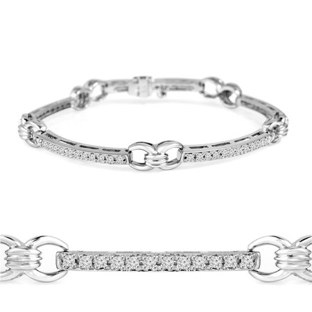 Round Cut Diamond 4-Prong Tennis Bracelet in White Gold - #B1913-W
