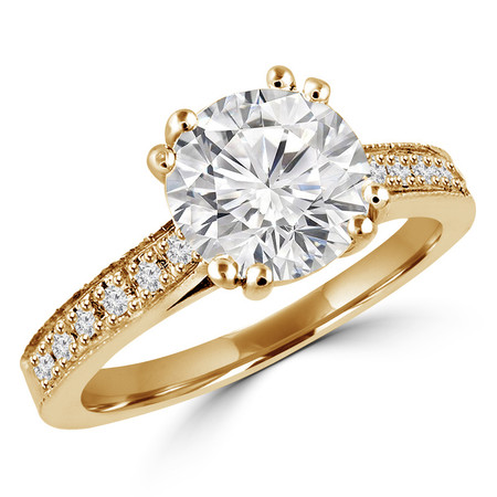 Round Cut Diamond Multi-Stone 4 Double-Prong Cathedral-Set Vintage Engagement Ring with Round Diamond Accents in Yellow Gold - #SM2361-Y