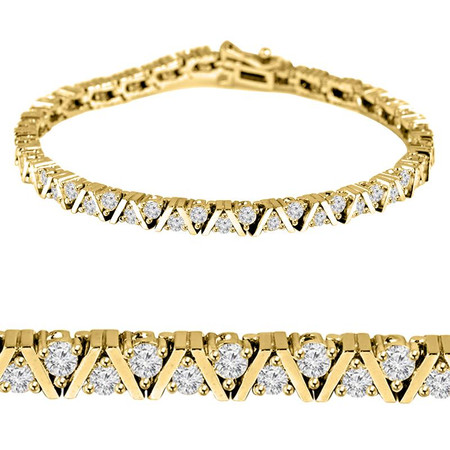 Round Cut Diamond 3-Prong Classic Tennis Bracelet in Yellow Gold - #B623-Y