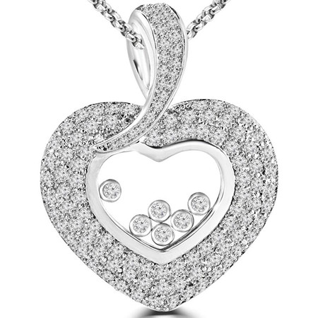 Round Cut Diamond Multi-Stone Pave and Bezel-Set Heart Pendant with Chain in White Gold - #C978-W