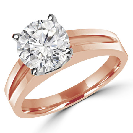 Round Cut Diamond Solitaire Split Shank 4-Prong Engagement Ring in Rose Gold - #210L-R