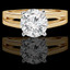 Round Cut Diamond Solitaire Split Shank 4-Prong Engagement Ring in Yellow Gold - #210L-Y