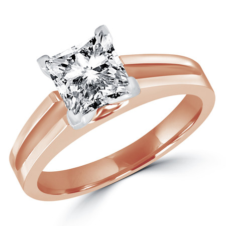 Princess Cut Diamond Solitaire Split Shank V-Prong Engagement Ring in Rose Gold - #210LP-R