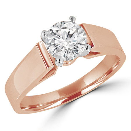 Round Cut Diamond Solitaire Cathedral-Set High-Set 4-Prong Engagement Ring in Rose Gold - #323L-R