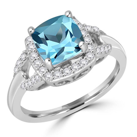 Cushion Cut Blue Aquamarine Gemstone Multi-Stone 4-Prong Halo Cocktail Ring with Round White Diamond Accents in White Gold - #CSFR2W1386-W-AQU