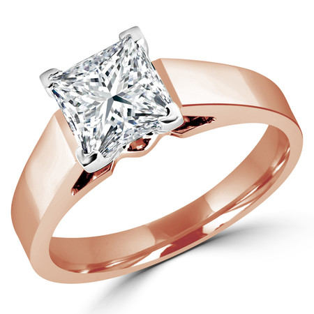 Princess Cut Diamond Solitaire Cathedral-Set 4-Prong Engagement Ring in Rose Gold - #323LP-R