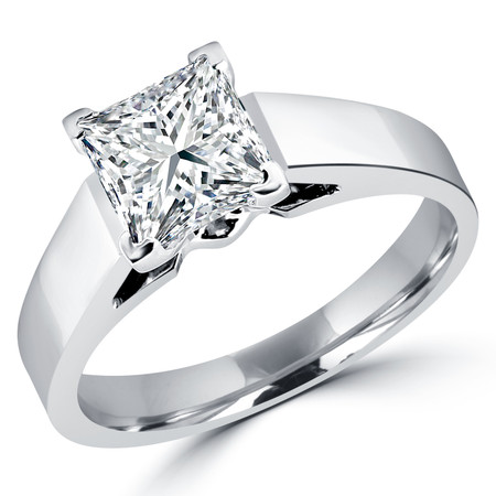 Princess Cut Diamond Solitaire Cathedral-Set 4-Prong Engagement Ring in White Gold - #323LP-W