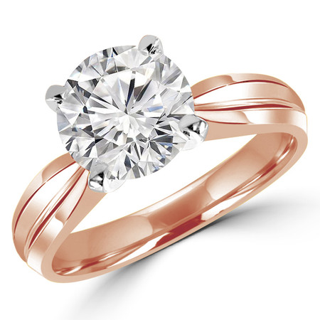 Round Cut Diamond Solitaire Tapered Shank V-Prong Engagement Ring in Rose Gold - #714L-R