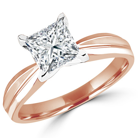 Princess Cut Diamond Solitaire Tapered Shank V-Prong Engagement Ring in Rose Gold - #714LP-R