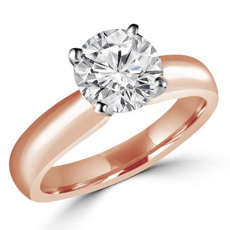 Round Cut Diamond Solitaire 4-Prong Engagement Ring in Rose Gold - #1625L-R