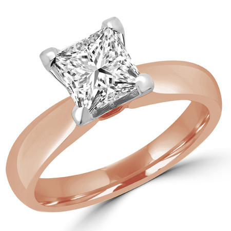 Princess Cut Diamond Solitaire 4-Prong Engagement Ring in Rose Gold - #1625LP-R