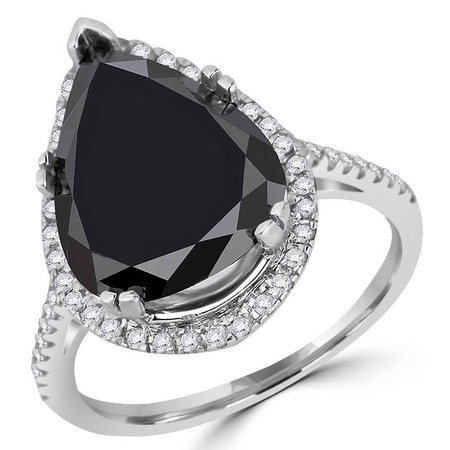 Pear Cut Black Diamond Multi-Stone 5-Prong Halo Cocktail Ring with Round White Diamond Accents in White Gold - #CSFR5M0063-W-BLK