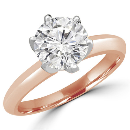 Round Cut Diamond Solitaire 6-Prong Knife-Edge Engagement Ring in Rose Gold - #1956L-R