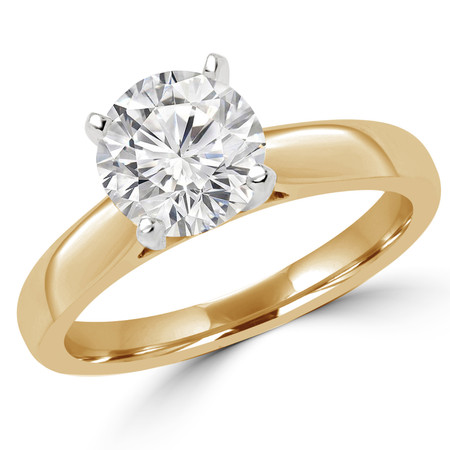 Round Cut Diamond Solitaire Cathedral-Set 4-Prong Engagement Ring in Yellow Gold - #2545L-Y