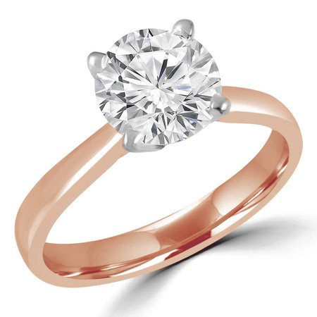 Round Cut Diamond Solitaire Tapered-Shank 4-Prong Cathedral-Set Engagement Ring in Rose Gold - #2307L-R