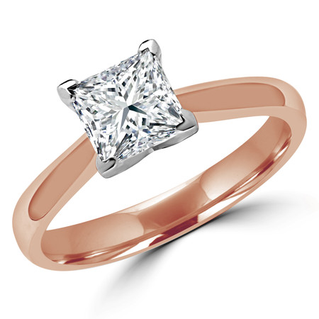 Princess Cut Diamond Solitaire Tapered-Shank V-Prong Cathedral-Set Engagement Ring in Rose Gold - #2309LP-R