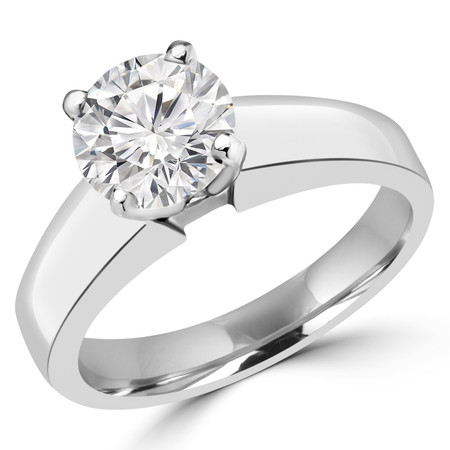 Round Cut Diamond Solitaire 4-Prong Engagement Ring in White Gold - #1428L-W