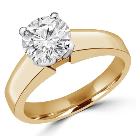 Round Cut Diamond Solitaire 4-Prong Engagement Ring in Yellow Gold - #1428L-Y