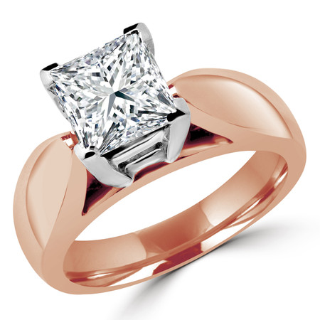 Princess Cut Diamond Solitaire V-Prong Cathedral-Set Wide-Band Engagement Ring in Rose Gold - #1133LP-R