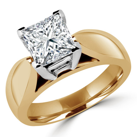 Princess Cut Diamond Solitaire V-Prong Cathedral-Set Wide-Band Engagement Ring in Yellow Gold - #1133LP-Y