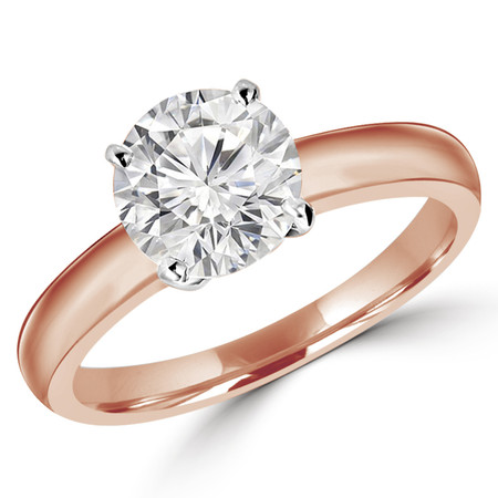 Round Cut Diamond Solitaire 4-Prong Engagement Ring in Rose Gold - #1504L-R