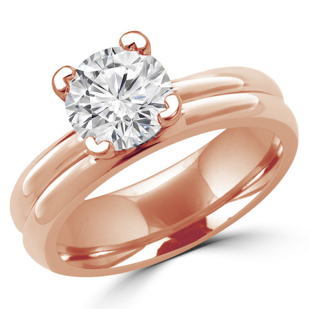 Round Cut Diamond Solitaire V-Prong Engagement Ring in Rose Gold - #1622L-R
