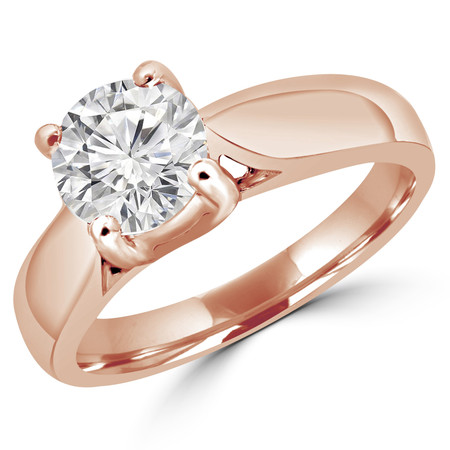 Round Diamond Solitaire Cathedral Engagement Ring in Rose Gold - #1893L-R