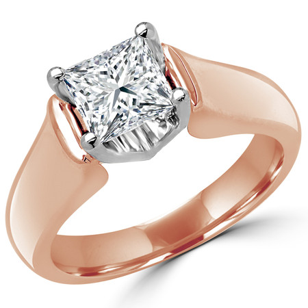 Princess Cut Diamond Solitaire 4-Prong Cathedral & Trellis-Set Engagement Ring in Rose Gold - #2251LP-R