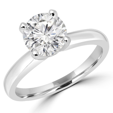 Round Cut Diamond Solitaire Cathedral-Set 4-Prong Engagement Ring in White Gold - #2546L-W